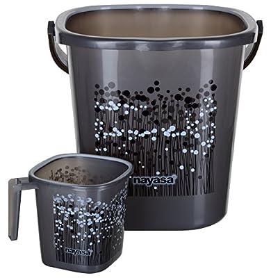 Nayasa/Aarohi13 Nayasa Plastic Bathroom Bucket And Mug Set (25 L, Grey, 2-Pieces)