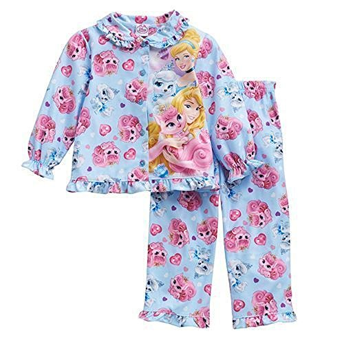Disney Palace Pets Kleinkind Mädchen Flanell Button Up Pyjama Set Gr. 4 Jahre, blau (Infant Sleeper Baby Footed)