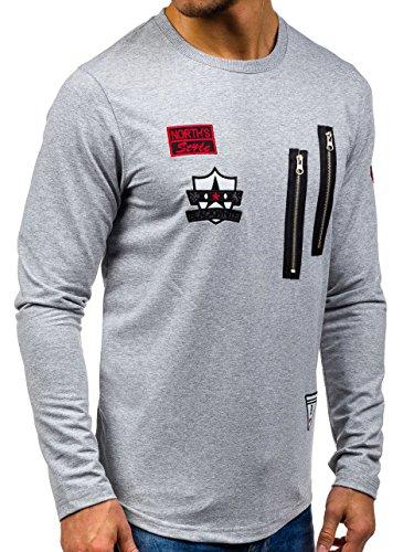 BOLF – Sweat-shirt – Manches longues – U-neck – Sport – Motif – Homme [1A1] Gris