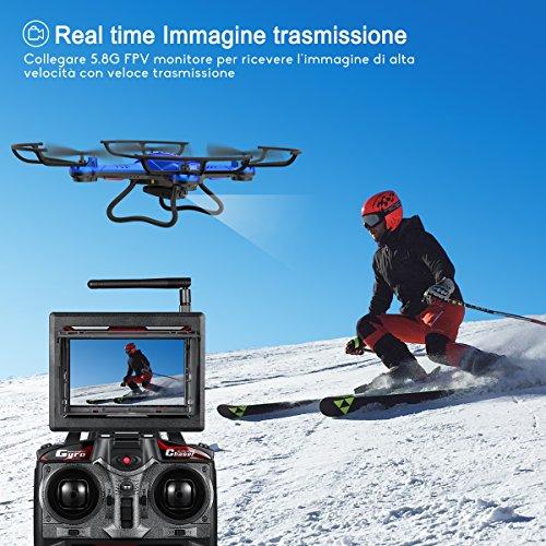 Potensic Drone con Fotocamera 720P HD Drone F181DH FPV LCD Monitore a Schermo con Funzione di Sospensione Altitudine, modalità Senza Testa, Allarme di Fuori Portata - 3