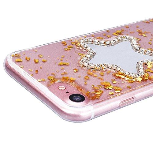 Custodia iPhone 7 Plus / iPhone 8 Plus, VemMore Case di Specchio Stella Morbido Trasparente Silicone TPU Cover con 3D Diamante Luccichio Strass Patterned Design Caso Backcase del Ultra Sottile Bling S Oro