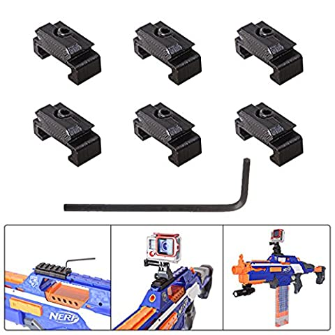 Fantaseal® Picatinny Rail Adapter for Nerf to Picatinny Gun Rail Adapter Mount 18mm-21mm Hardpoint MOD Kit Nerf Gun Attachment Nerf Gun Accessories Nerf Gun Mount Air Soft Gun Mount for Nerf Blaster Standard Military Tactical Gear Scope Led Flash Light Night Vision Device etc -Solid 3D Version (6 pcs)
