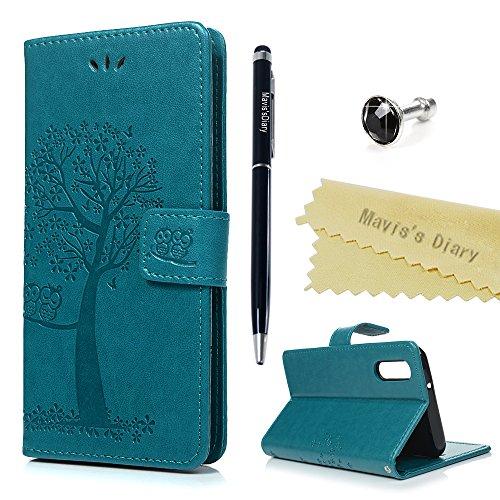 Huawei P20 Hülle Case Mavis's Diary Eule Baum Muster Leder Tasche Handyhülle Flip Cover Schutzhülle Lederhülle Skin Ständer Schale Handytasche Bumper Holster Magnetverschluss Klappbar Ledertasche-Blau