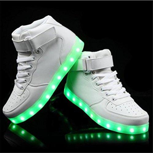 (Présents:petite serviette)JUNGLEST® - 7 Couleur Mode Unisexe Homme Femme Fille USB Charge LED Chaussures Lumière Lumineux Clignotants Chaussures de marche Haut-Dessus LED Ch Blanc
