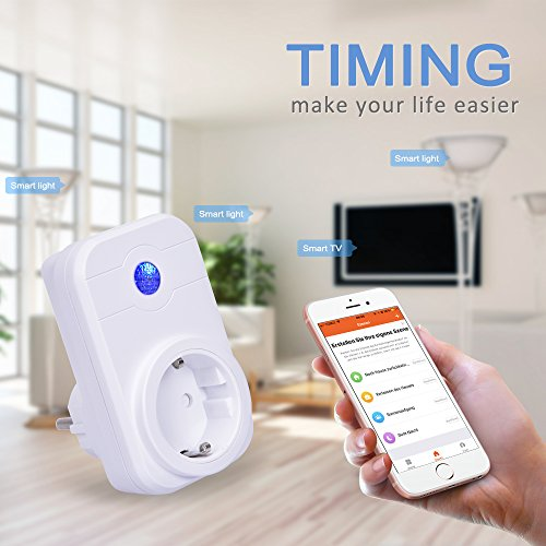 WlAN Steckdose, COLEMETER Intelligente WiFi Steckdose Smart Plug funktioniert mit Amazon Alexa (Echo und Echo Dot) Funksteckdose Switch Timer WIFI Schalter Smartphone App Steuerung für IOS Android