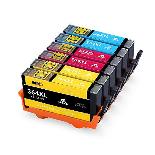 Ikong 364xl compatibile per hp 364 cartucce lavora con hp deskjet 3520 3070a,officejet 4620 4622,photosmart 5510 5520 7510 7520 b110a 6510 5524 c5380 d5460 b010a b109a (3 ciano,3 giallo,3 magenta)
