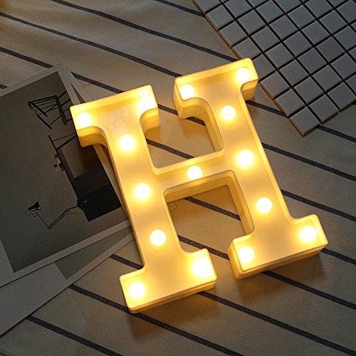 Alphabet LED Buchstaben Lichter leuchten weiße Kunststoff Buchstaben stehend hängend A-M & Lampe Leuchten Gartenparty Dekoration Disco Karneval Fashing Strahler Strip