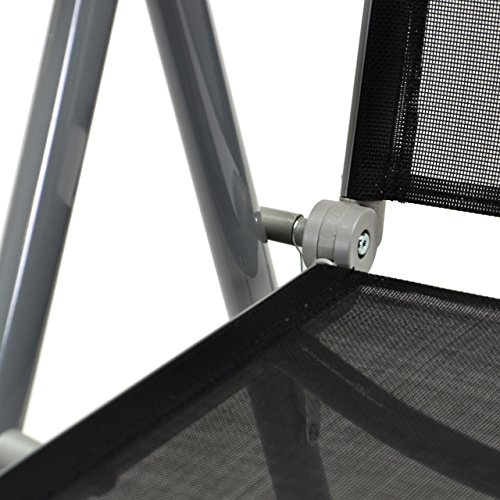 2er Set Klappstuhl Aluminium Komfortbreite Gartenstuhl Gartenstühle Klappstühle Alu schwarz -