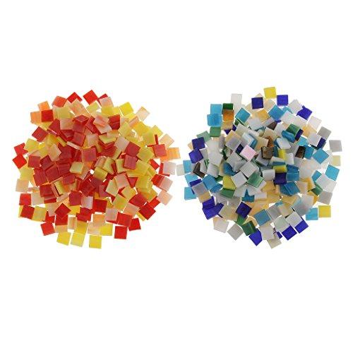 Baoblaze Carreaux De Mosaïque En Verre De Mosaïque De Puzzle De 500 Morceaux Vitraux Pour Des Arts DIY Multicolor, Rouge Et Jaune