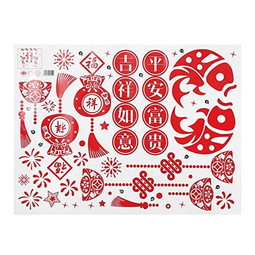 Pokerty Chinesisches Neujahr Wandaufkleber, 40 * 60 cm Chinesisches Neujahr Wandaufkleber Schlafzimmer Wohnzimmer Wandtattoo Dekoration(#3)