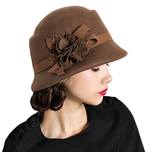 Maitose® Damen Wollfilz Blumen Kirche Bowler Hats (Bowler Kostüm Hut Braun)