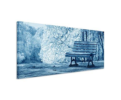 150x-50cm-immagine-da-parete-blu-teal-panorama-da-parete-quadro-su-vera-tela-con-panca-fioritura-alb