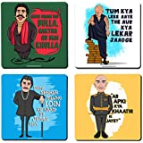 Be Awara Bollywood Super Villain Series - MDF Printed Coasters - Set Of 4, 10 Cm X 10 Cm