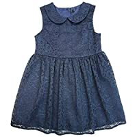Get Wivvit Girls Peter Pan Collar Sleeveless Lace Party Dress Toddler Sizes from 1 to 6 Years Navy