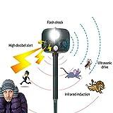 Ethradia Ultraschall-Abwehr für den Außenbereich, solarbetrieben, wasserfest, mit Bewegungsmelder, Alarmfunktion, LED-Blinklicht, für Hunde, Katzen, Eichhörnchen, Hirsch, Waschbär und mehr