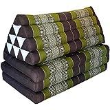 Matelas Thai XXL 3 plis avec coussin dossier triangle, canapé, détente, matelas, kapok, plage, piscine, fabriqué en Thailande, marron/vert (82018)