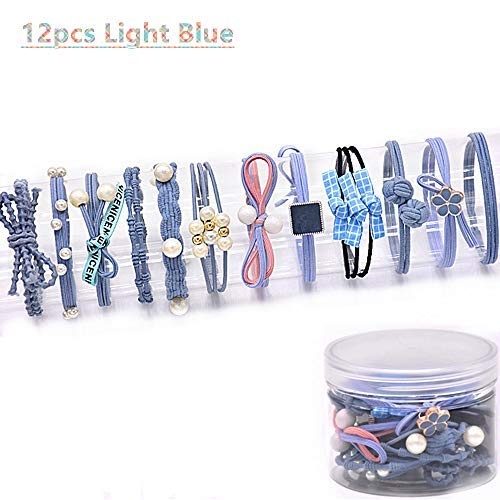 12Pcs Girls Women Pearls lucky Bowknot Flower Hair Accessories Elastic Hair Ties Hair Ropes Fashion Headbands Ponytail Holders Hair Rings Hairband (Light Blue) -