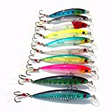 LanLan Lugii Cube Minnow Leurres de pêche Lot de 9 cm 8 g artificielle dur Appât avec plumes double Attaches de type Swimbait 10 pcs