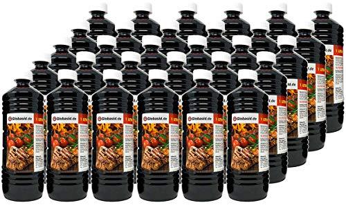 Globasid® 30 x 1 L Grillanzünder Flüssig für Holzkohle, Grillbrikett, Kamin, Grill, Feuerstellen, Grill Anzünder