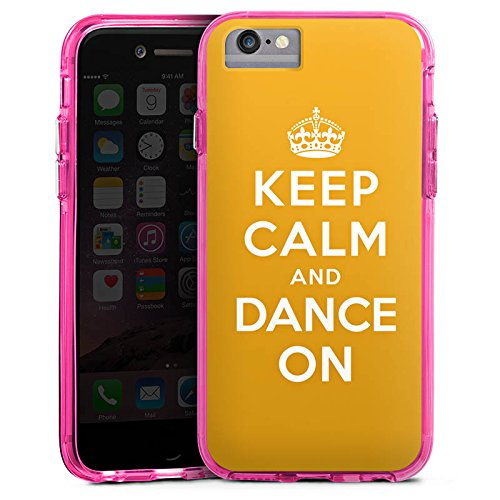 Apple iPhone 7 Bumper Hülle Bumper Case Glitzer Hülle Keep Calm Tanzen Dance Bumper Case transparent pink