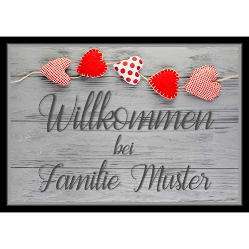 Individuell bedruckte Fußmatte - Holz mit Herzen mit Wunschtext personalisiert, Größe der Fußmatte:40 x 60 cm