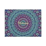 Violette, blaue und grüne Mandala-Fußmatte, rutschfester Gummi, Matte Teppich für draußen und drinnen, 60x 40 cm Matte für Eingangstür