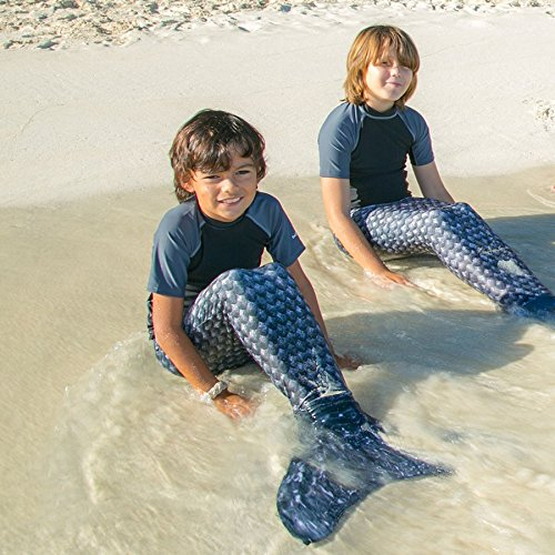 Fin Fun - coda da sirena con monopinna per nuotare - bambina, bambino ed adulti Barracuda nero