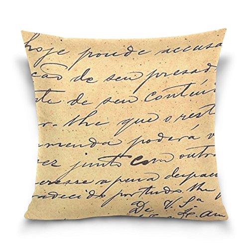 Custom Baumwolle, quadratisch, Vintage Buchstaben Federn Überwurf Kissen Fall Shell Dekorative Kissenhülle Home Sofa Bett 45,7x 45,7cm, stil 4, 18*18inches -