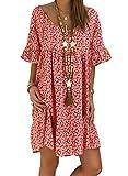 Aleumdr Mujer Vestido de Playa Cuello V Vestido de Verano Mangas Cortas Vestido Cover Up Rojo Size S
