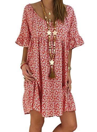 Aleumdr Mujer Vestido Playa Cuello V Vestido Verano