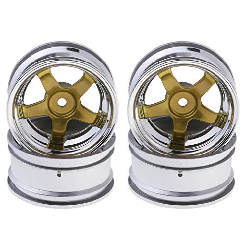B Blesiya 4pcs Metall Wheel Rim/Reifen Felgen Ersatzteile für 1:10 RC Drift Auto - Gold