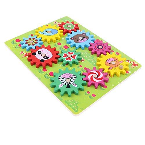 D DOLITY Kinder Zahnrad Puzzle aus Holz Puzzlespiel Motorikspielzeug für Kinder und Baby - Waldtier - Zahnrad-puzzle