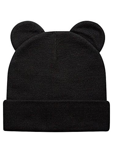 Oodji ultra donna berretto con risvolto e orecchie, nero, one size