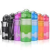 Grsta Sport Trinkflasche, 400ml/14oz - BPA frei Tritan Kunststoff Wasserflasche, Auslaufsicher Sporttrinkflaschen für Laufen, Yoga, Fahrrad, Kinder Schule, Wasser Flaschen mit Sieb (Grün)