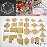 KING DO WAY 54pcs Mixtos Quilt Plantillas Acrílico DIY Herramientas para Patchwork de Plantilla Regla Nähwerkzeugen