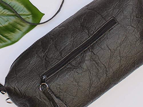 Piñatex® Handtasche, schwarze Umhängetasche aus Ananasfaser, vegan, schwarze Schultertasche, Geschenk, - 5