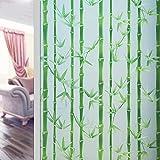 ASDFGH Bambus Statische klarsichtfolie Fensterfolie sichtschutz, Ohne klebstoff Entfernbar Milchglasfolie Dekor-fensterfolie, Fensterfolien Für Office Wohnzimmer-A 90x200cm(35x79inch)