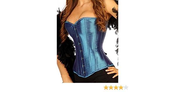 b6a4ebc793 1919 MB Metalic Blue Satin Full Steel Boned Corset Modesty Panels (Made To  Measure)  Amazon.co.uk  Clothing