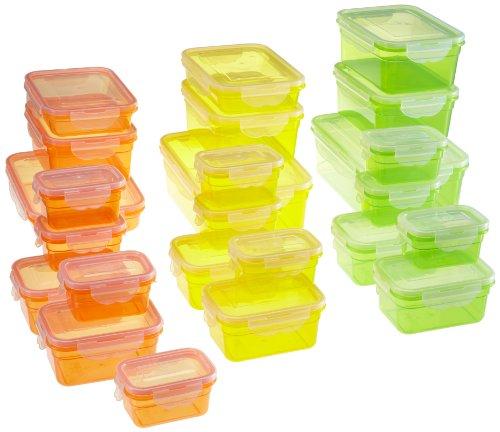 GOURMETmaxx 01696 Frischhalteboxen Set Klick-it | Frischhaltdosen geeignet Gefrierschrank Mikrowelle Spülmaschine | 50 Teile | 4 fach Klicksystem (Deckeldichtung) | Vorratsdosen Grün Gelb Orange
