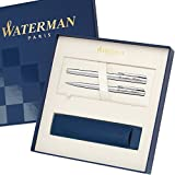 WATERMAN Schreibset GRADUATE Chrom C.C. mit Gravur Füllfederhalter und Kugelschreiber mit großem Geschenk-Etui …