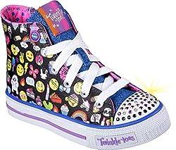 Skechers Kids Twinkle Toes Shuffles High Top Lighted Sneaker Little Kid Big Kid Toddler Black/Multi 13.5 M US Little Kid