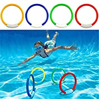 Creamon Child Kid Swimming Pool Underwater Diving Rings Toys,K2 4 Pcs/Pack Child Kid Swimming Pool Underwater Diving Rings Toys Underwater Swimming Pool Diving Summer Beach Water Play Toys