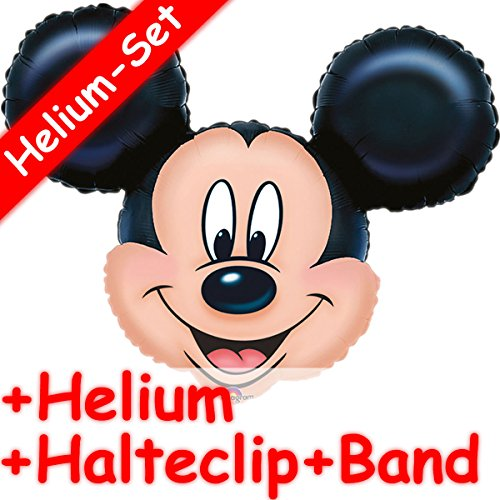 Folienballon Set * MICKEY MOUSE + HELIUM FÜLLUNG + HALTE CLIP + BAND * für Kindergeburtstag // SUPERSHAPE // Party Folien Ballon Helium Deko Ballongas Clubhouse Disney Micky Maus (Disney Mickey Mouse Clubhouse)