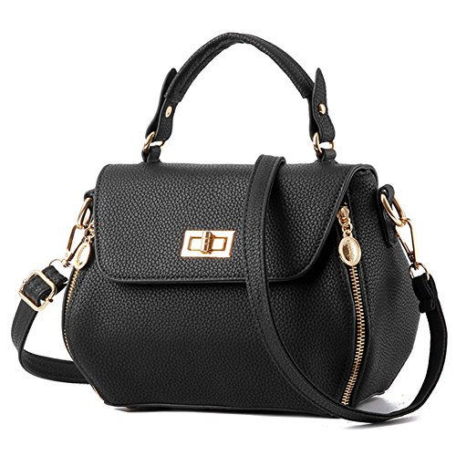 fanhappygo Fashion Retro Leder Damen unique clutch Schulterbeutel Umhängetaschen Abendtaschen schwarz