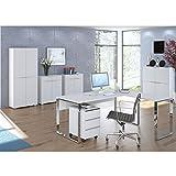 MAJA Büromöbel Komplettset Komplettes Arbeitszimmer YAS in Weißglas matt 7-teilig