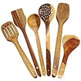 #1: Crafts A to Z Multipurpose Serving and Cooking Spoon Set for Non Stick Spoon for Cooking Baking kitchen tools Essentials Wooden Non Stick Spatulas , Ladles Mixing and turning ,Mixing and Turning Handmade Wooden Serving and Cooking Spoons Non Stick Kitchen Utensil - Set of 6
