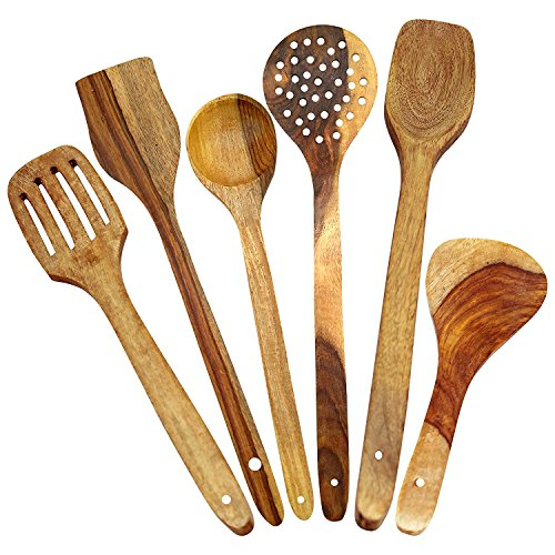 Craft Land Handmade Wooden Serving and Cooking Spoon Kitchen Tools Utensil, Non Stick Set of 6  available at amazon for Rs.171