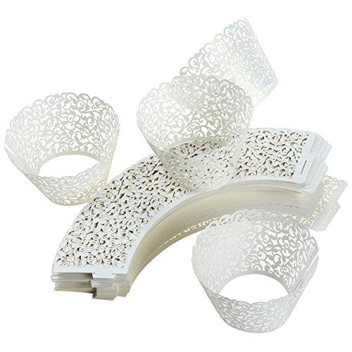 100Dekorative Laser Cut Cupcake Liners für Hochzeiten, Geburtstage, Weihnachten, Spitze Cupcake ()