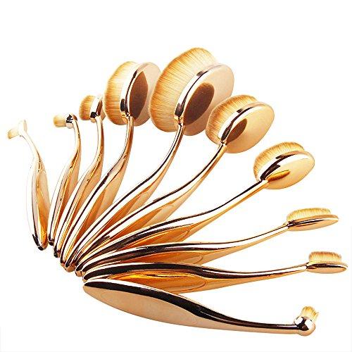 Contever® 10 Pezzi Pro Pennelli Trucco Kabuki Ovale Spazzole Strumenti per Ombretto Blush Correttore Antiallergica (Rosegold)