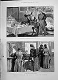 Billetterie Ferroviaire Latey Charles Keene de 1891 de Grève Passagers de l'Ecosse